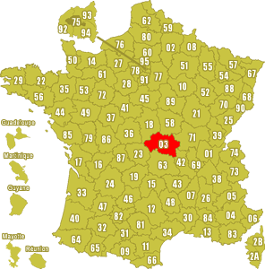 Le point rouge sur la carte vous donne la position du département de l'Allier 03 sur la carte de France.