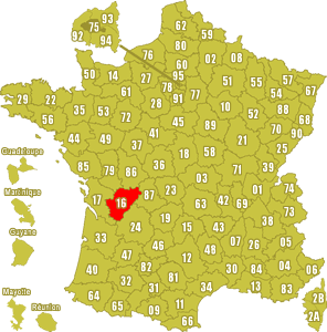 Le point rouge sur la carte vous donne la position du département de la Charente 16 sur la carte de France.