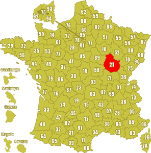 Le point rouge sur la carte vous donne la position du département de la Côte d'Or 21 sur la carte de France.