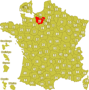 Le point rouge sur la carte vous donne la position du département de l'Eure 27 sur la carte de France.