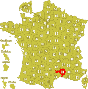 Le point rouge sur la carte vous donne la position du département du Gard 30 sur la carte de France.
