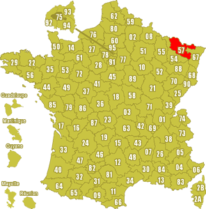 Le point rouge sur la carte vous donne la position du département de la Moselle 57 sur la carte de France.