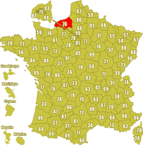 Le point rouge sur la carte vous donne la position du département de la Seine Maritime 76 sur la carte de France.