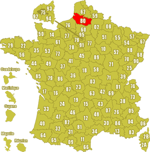 Le point rouge sur la carte vous donne la position du département de la Somme 80 sur la carte de France.
