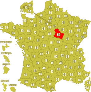 Le point rouge sur la carte vous donne la position du département de l'Yonne 89 sur la carte de France.