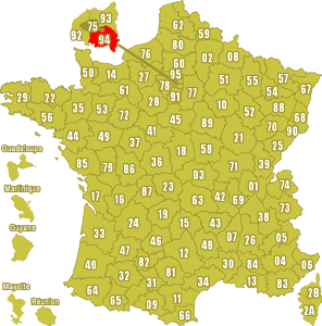 Le point rouge sur la carte vous donne la position du département du Val de Marne 94 sur la carte de France.